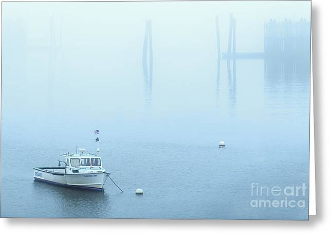 Foggy Harbor Greeting Card by Diane Diederich