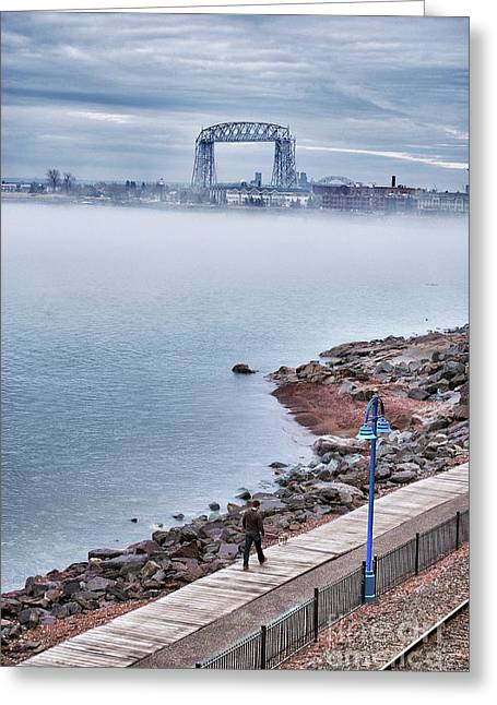 Canal Park Greeting Cards - Foggy Lake Superior Afternoon Greeting Card by Shutter Happens Photography