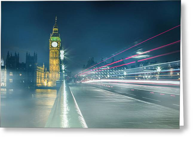 Foggy Mist Covered Westminster Bridge Greeting Card by Martin Newman