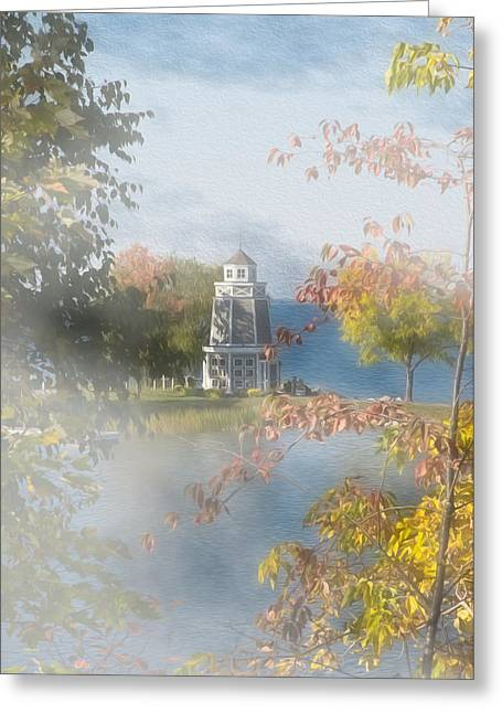 Blue Green Water Greeting Cards - Foggy Morning at the Lake Greeting Card by John Bailey