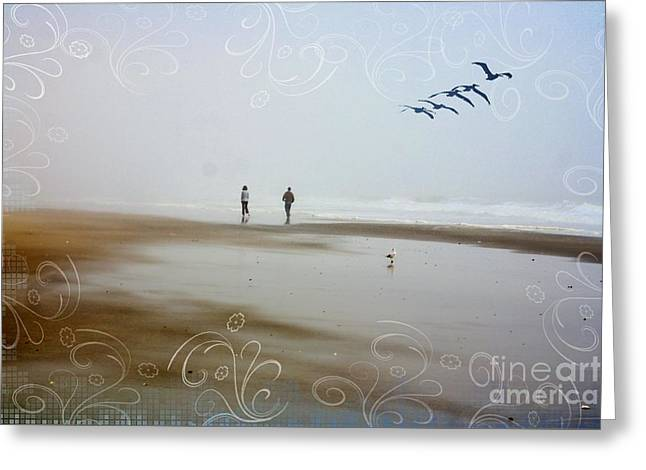 Foggy Ocean Greeting Cards - Foggy Morning At The Sea Greeting Card by Cindy Piper