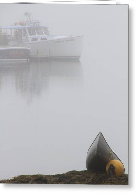 Boats In Harbor Greeting Cards - Foggy Morning Greeting Card by Cheryl Somers