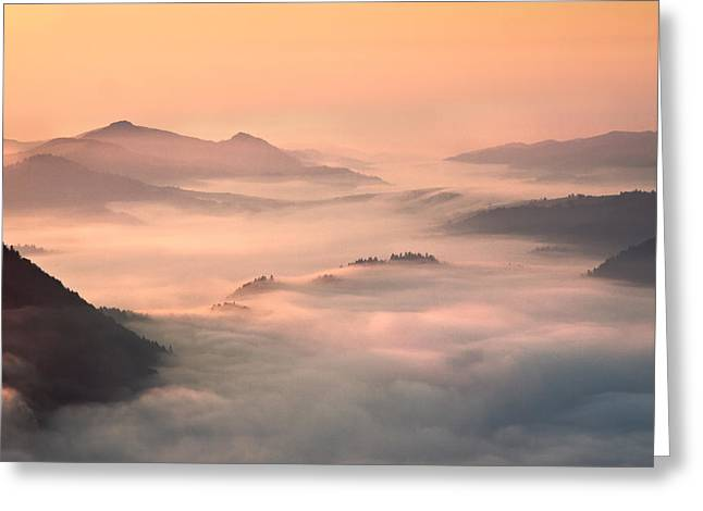Fog Mist Greeting Cards - Foggy Morning In The Mountains Greeting Card by Fproject - Przemyslaw Kruk