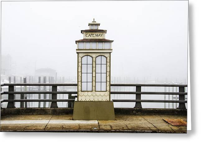 Foggy Beach Greeting Cards - Foggy Morning on Cape May Harbor Bridge Greeting Card by Bill Cannon