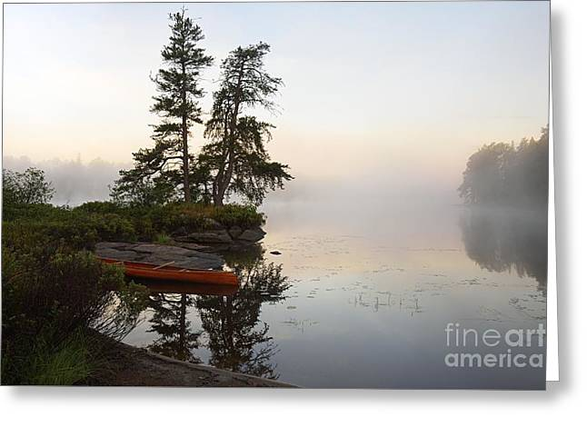 Foggy Morning On The Kawishiwi River Greeting Card by Larry Ricker