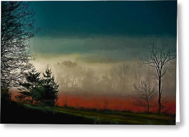 Unique Art Greeting Cards - Foggy Morning Sunrise Greeting Card by Dave Bosse