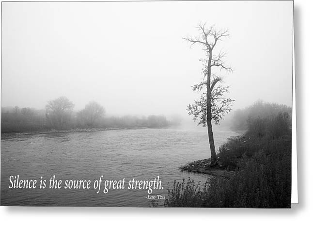 Moral Greeting Cards - Foggy Morning with Inspirational Text Greeting Card by Donald  Erickson