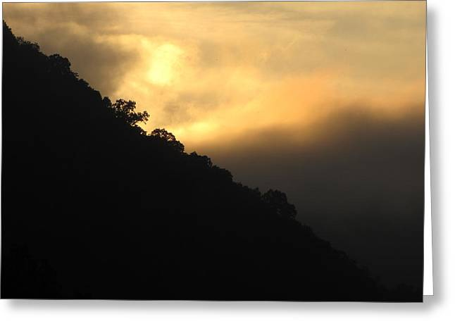 Shane Brumfield Greeting Cards - Foggy Mountain Sunrise Greeting Card by Shane Brumfield