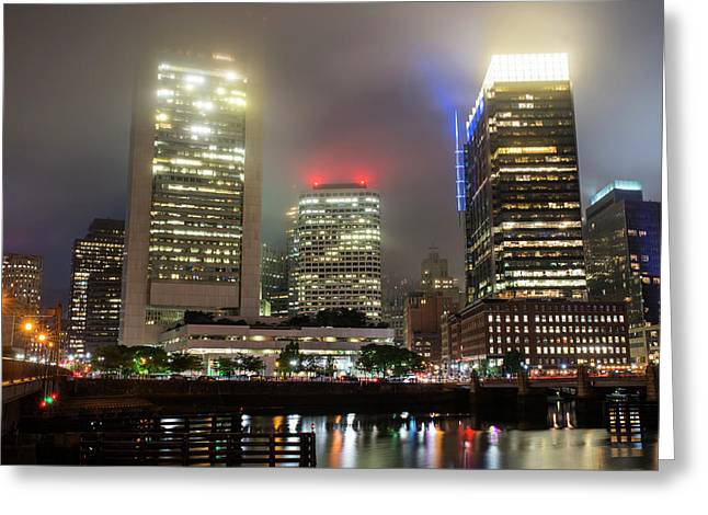 Foggy Night In Boston Ma Greeting Card by Toby McGuire