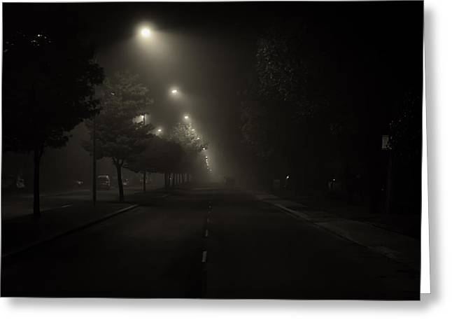 Night Lamp Greeting Cards - Foggy Night Greeting Card by Roger Branker