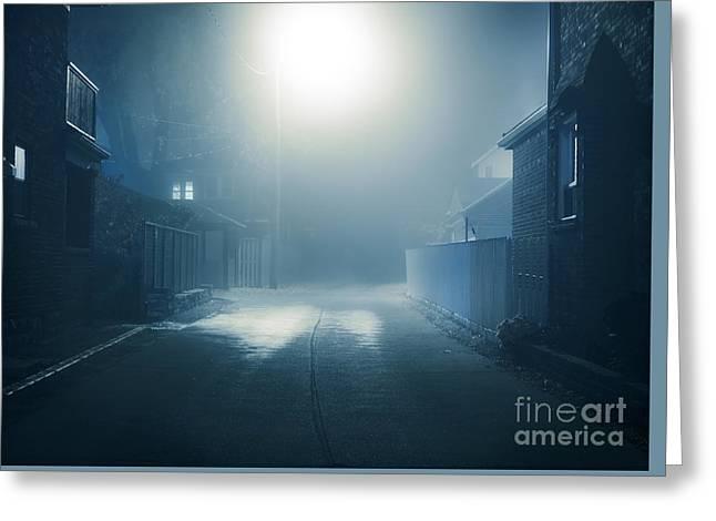 Night Lamp Greeting Cards - Foggy nighttime scenery of a street Greeting Card by Oleksiy Maksymenko