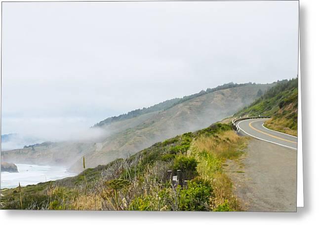 Foggy Beach Greeting Cards - Foggy Pacific Coast Highway Greeting Card by Susan Vineyard