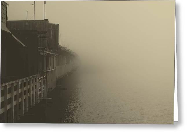 Foggy Ocean Greeting Cards - Foggy Pier At Daybreak Greeting Card by Dominik Lange