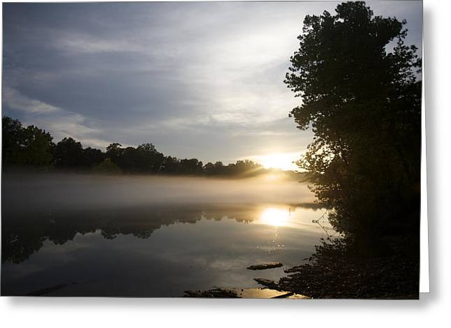 Foggy River With Reflections And Trees Greeting Card by Gillham Studios