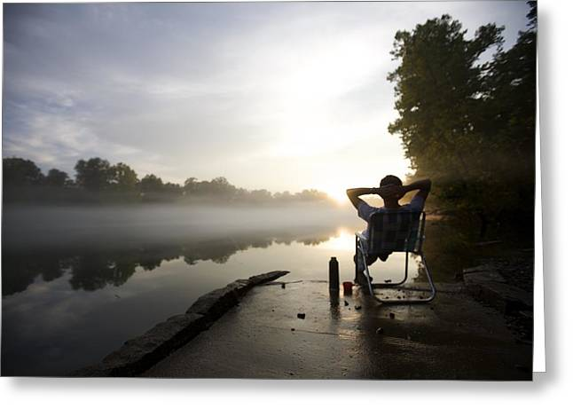 Lawn Chair Greeting Cards - Foggy Riverside Landscape At Sunset Greeting Card by Gillham Studios