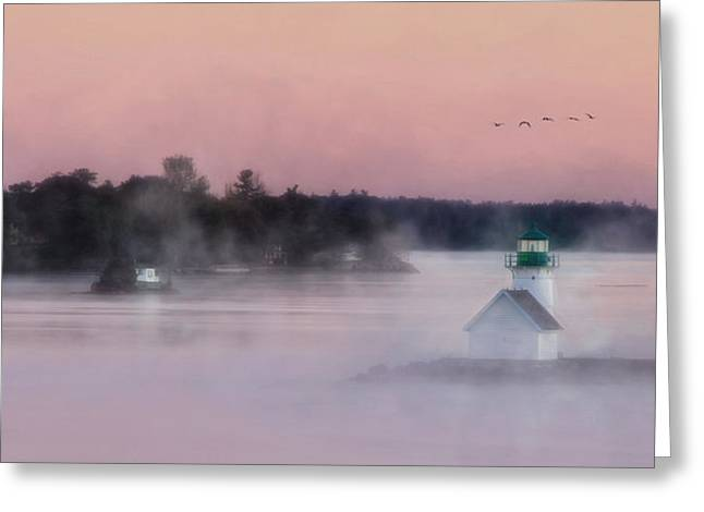 Bay St. Lawrence Greeting Cards - Foggy Sunken Rock Greeting Card by Lori Deiter