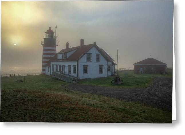 Foggy Sunrise At Quoddy Head Greeting Card by Tom Weisbrook
