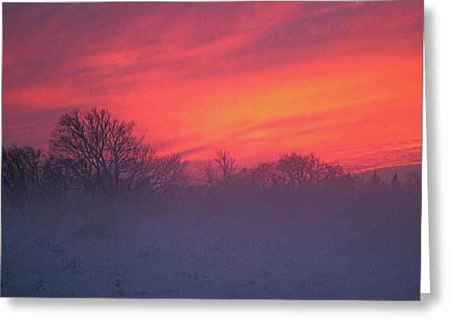 Foggy Ocean Greeting Cards - Foggy Sunset Greeting Card by Spencer Bush