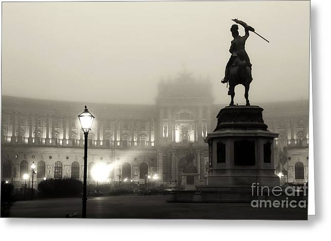 Sculpture For Sale Greeting Cards - Foggy Vienna Night Greeting Card by John Rizzuto