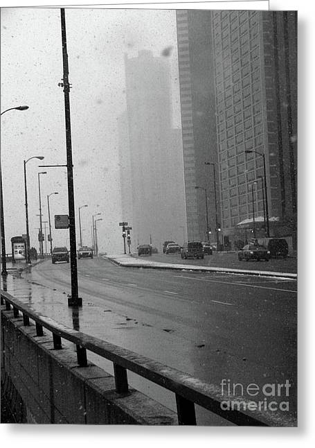 Wacker Drive Greeting Cards - Foggy Wacker Greeting Card by David Bearden