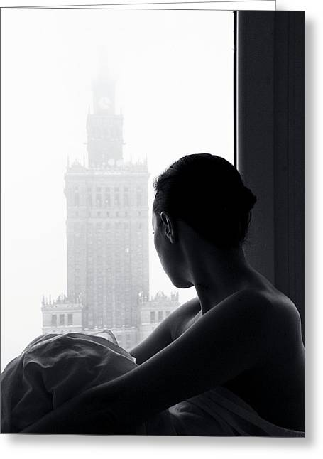 Windows Photographs Greeting Cards - Foggy Waiting Greeting Card by Paralaxa