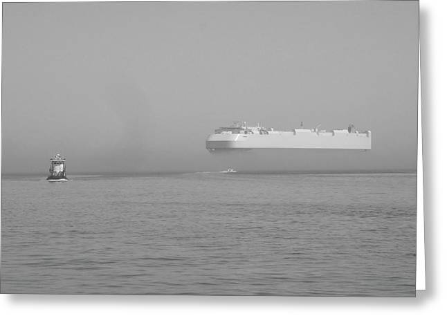 Black And White Reliefs Greeting Cards - Fogs floating barge Greeting Card by WaLdEmAr BoRrErO