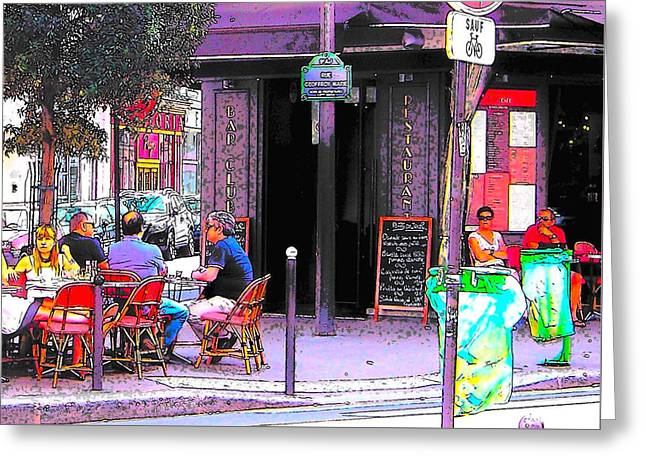 Table Wine Greeting Cards - Folies Cafe Paris Greeting Card by Jan Matson