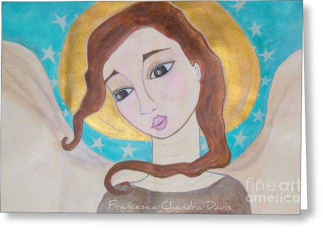 Folk Angel Greeting Card by Sacred  Muse