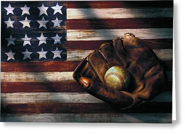Glove Ball Greeting Cards - Folk art American flag and baseball mitt Greeting Card by Garry Gay