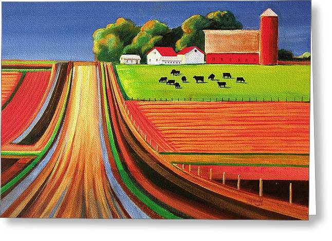 Angus Greeting Cards - Folk Art Farm Greeting Card by Toni Grote