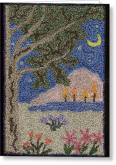 Primitive Tapestries - Textiles Greeting Cards - Folk Art Tree Greeting Card by Jan Schlieper