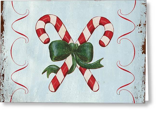 Folk Candy Cane Greeting Card by Debbie DeWitt