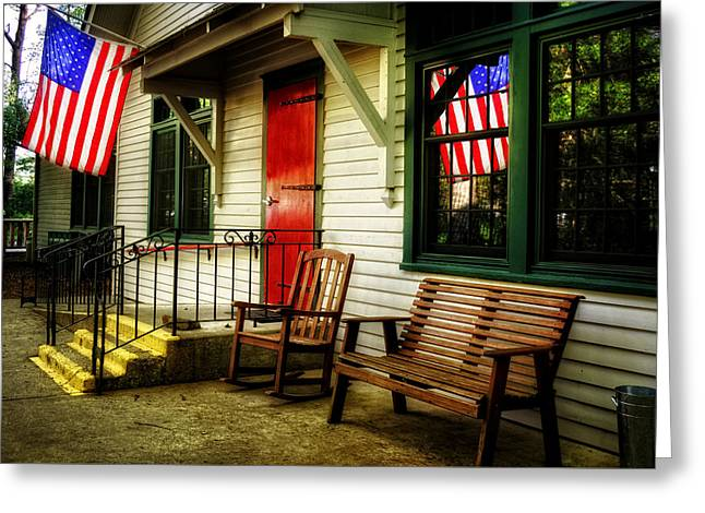 Red School House Greeting Cards - Folk School Flag Greeting Card by Greg Mimbs