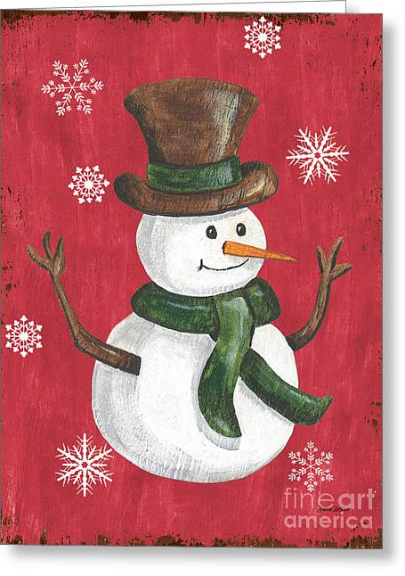 Folk Snowman Greeting Card by Debbie DeWitt