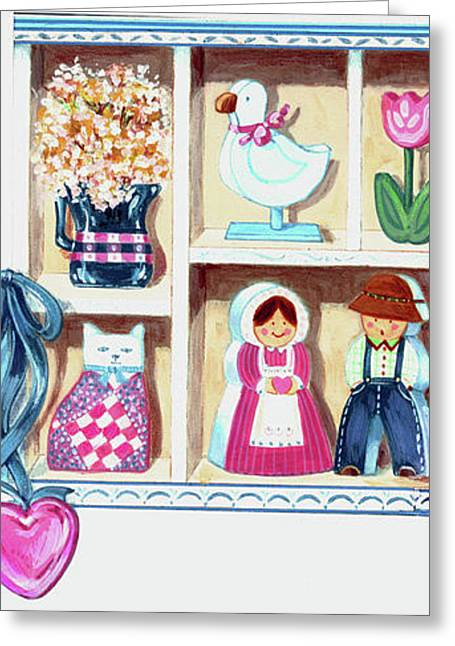 Amish Farms Mixed Media Greeting Cards - Folksy Valentine Greeting Card by Linda Crockett