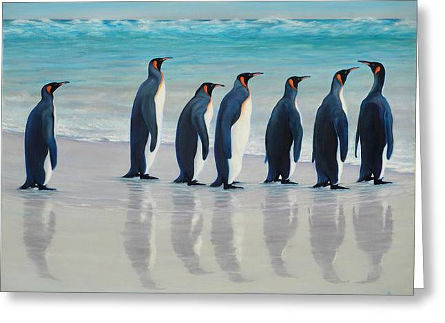 Follow Me Penguins Greeting Card by ArtLoft - Southern California