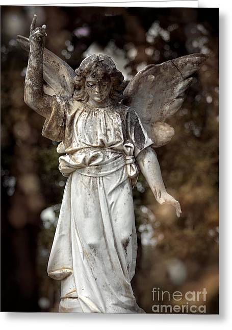 Old Digital Art Greeting Cards - Follow the Heavenly Messenger - Christian Angel Art Greeting Card by Ella Kaye Dickey