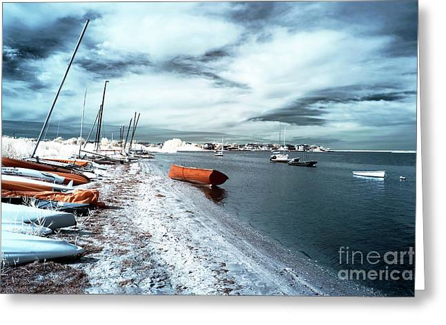 Sailboat Photos Greeting Cards - Follow the Orange Boat Greeting Card by John Rizzuto