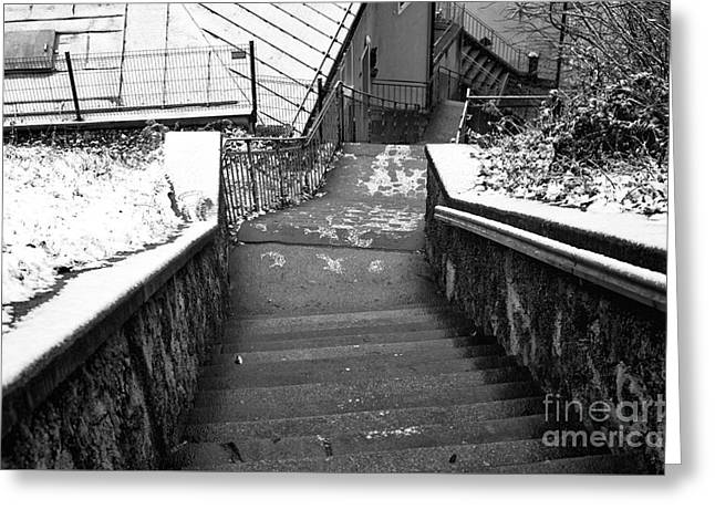 Stone Steps Greeting Cards - Follow the Path Down in Salzburg Greeting Card by John Rizzuto