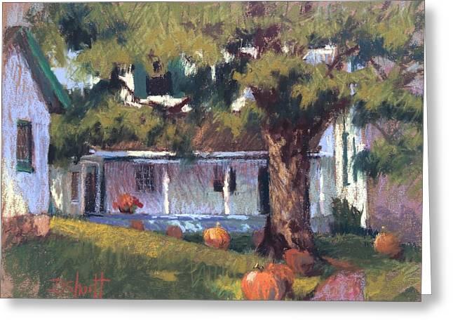 Follow The Pumpkins Greeting Card by Donna Shortt