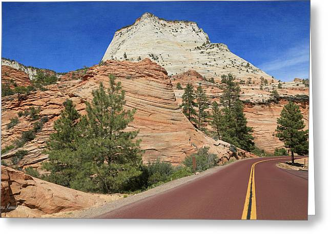 Nature Greeting Cards - Follow the Red Paved Road Greeting Card by Donna Kennedy