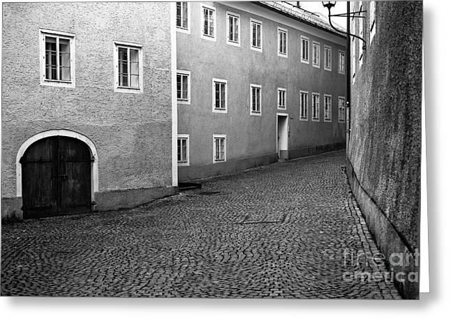 Salzburg Greeting Cards - Follow the Road in Salzburg mono Greeting Card by John Rizzuto