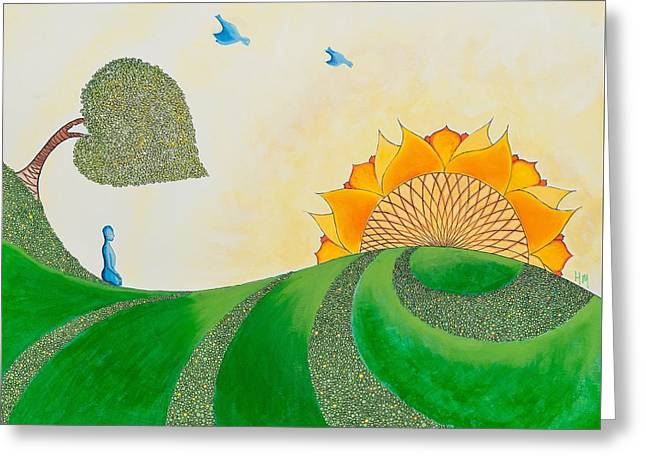 Sit-ins Drawings Greeting Cards - Follow the Sun Greeting Card by Heather Mulvenna