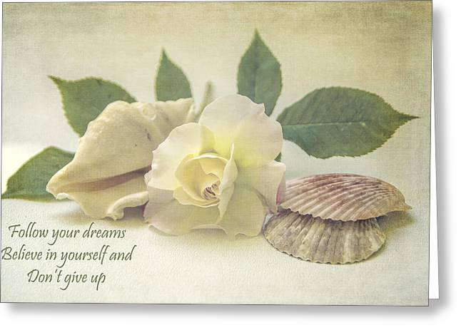 Shell Texture Greeting Cards - Follow Your Dreams Greeting Card by Cathy Kovarik