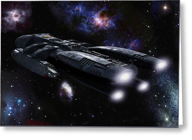 Following Galactica Greeting Card by Joseph Soiza