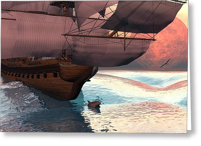 Sailing Ship Greeting Cards - Following the navigator Greeting Card by Claude McCoy
