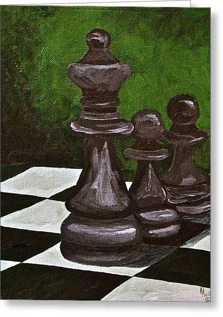 Chess Piece Paintings Greeting Cards - Following the Queen Greeting Card by Herschel Fall