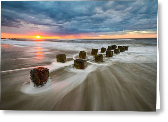 Dave Greeting Cards - Folly Beach Charleston SC South Carolina Seascape Greeting Card by Dave Allen