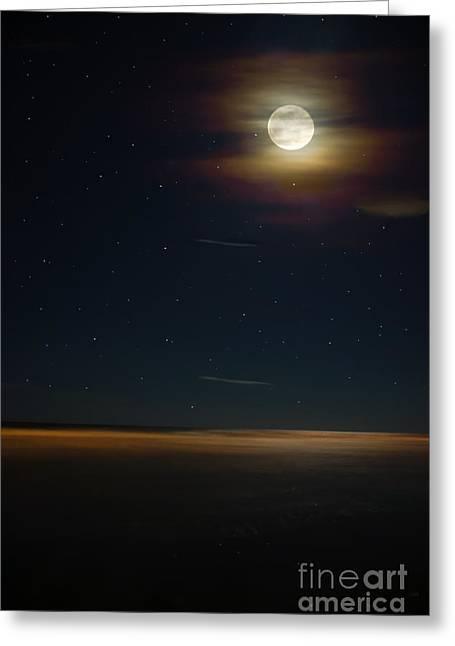 Moon Beach Greeting Cards - Folly Beach Night Greeting Card by Jennifer White
