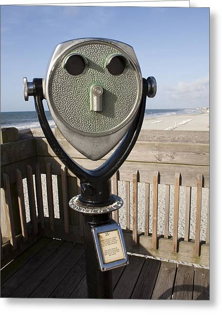 Operating Greeting Cards - Folly Beach Pay Binoculars Greeting Card by Dustin K Ryan